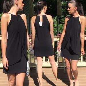 NWTJessica Simpson Black Dress Studded Halter Neck